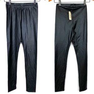 Forever 21 black faux leather leggings, S